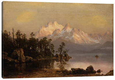 Mountain Canoeing by Albert Bierstadt Canvas Art