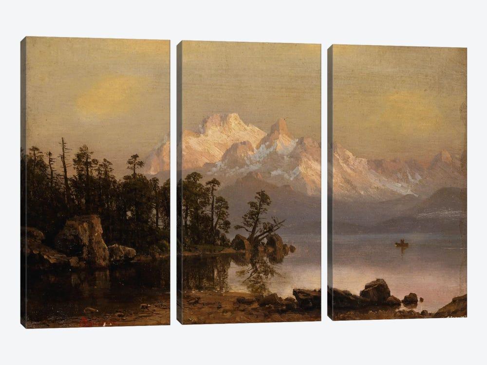 Mountain Canoeing by Albert Bierstadt 3-piece Canvas Artwork