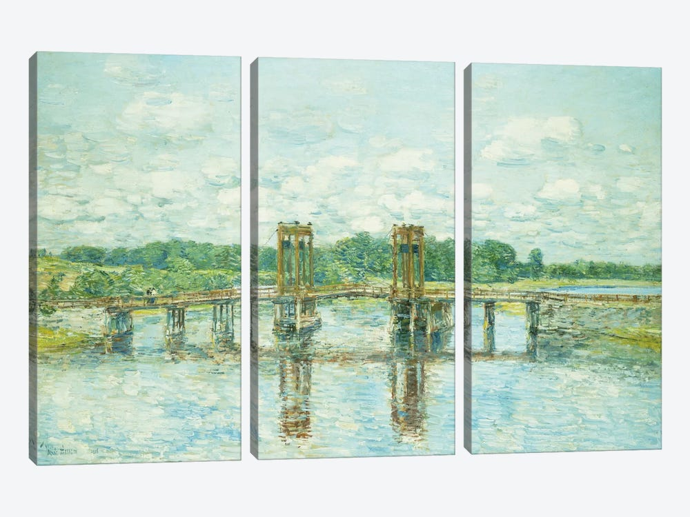 The Toll Bridge, New Hampshire, Near Exeter, 1906  by Childe Hassam 3-piece Canvas Wall Art
