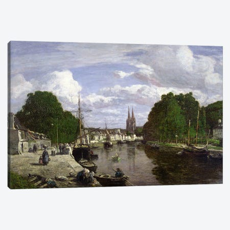 The Port at Quimper, 1857  Canvas Print #BMN572} by Eugene Louis Boudin Canvas Art