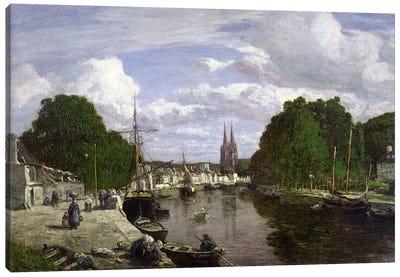 The Port at Quimper, 1857  Canvas Art Print