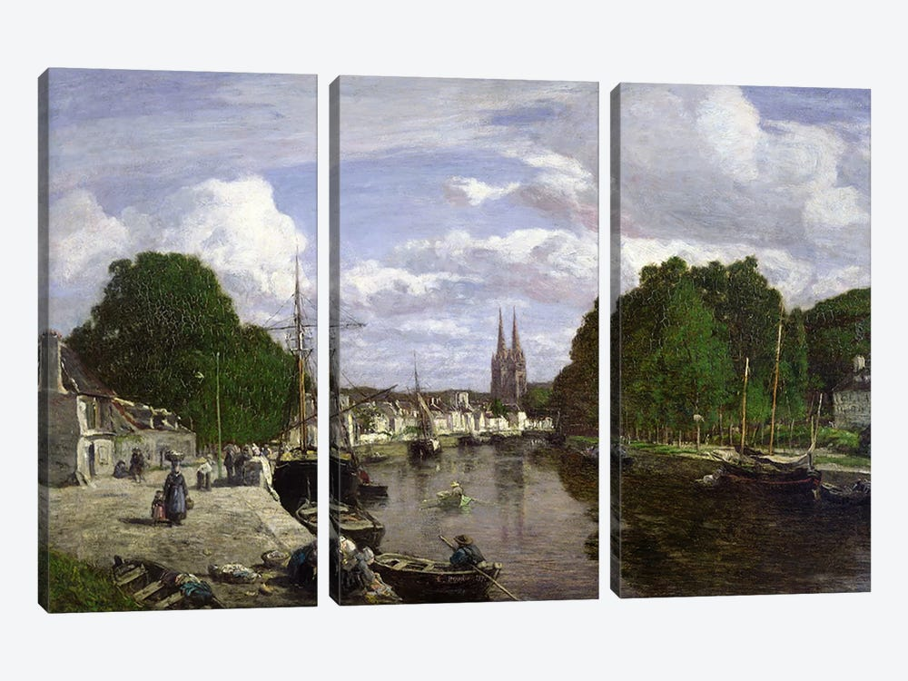 The Port at Quimper, 1857  by Eugene Louis Boudin 3-piece Canvas Wall Art