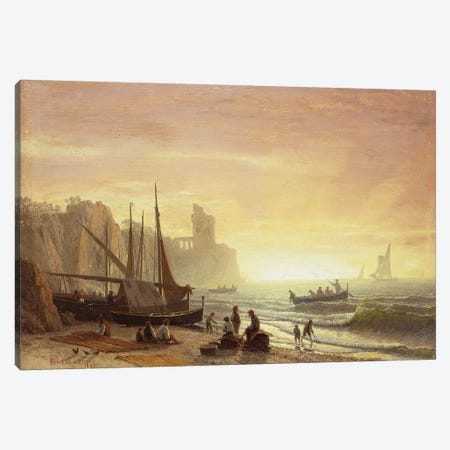 The Fishing Fleet, 1862  Canvas Print #BMN5731} by Albert Bierstadt Canvas Print