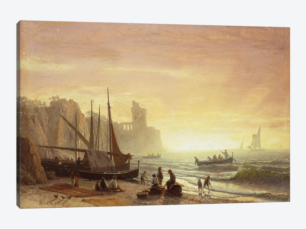 The Fishing Fleet, 1862  by Albert Bierstadt 1-piece Canvas Art