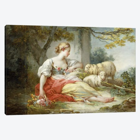 A Shepherdess Seated with Sheep and a Basket of Flowers Near a Ruin in a Wooded Landscape Canvas Print #BMN5733} by Jean-Honore Fragonard Art Print
