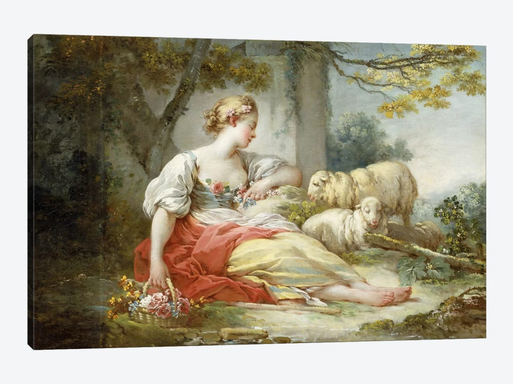 A Shepherdess Seated with Sheep and a Basket of Flowers Near a Ruin in a Wooded Landscape 1-piece Canvas Wall Art