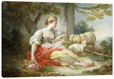 A Shepherdess Seated with Sheep and a Basket of Flowers Near a Ruin in a Wooded Landscape Canvas Art Print