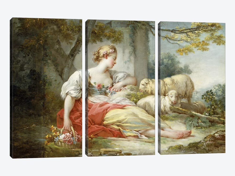 A Shepherdess Seated with Sheep and a Basket of Flowers Near a Ruin in a Wooded Landscape by Jean-Honore Fragonard 3-piece Canvas Art