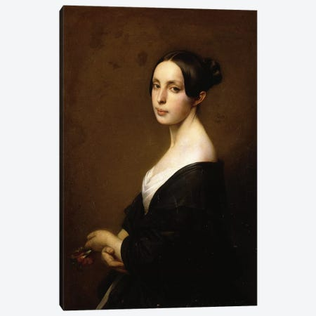 Portrait of a Lady, Half Length Wearing a Black Dress and Holding a Carnation Canvas Print #BMN5734} by Hermann Winterhalter Canvas Wall Art