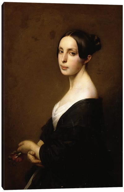 Portrait of a Lady, Half Length Wearing a Black Dress and Holding a Carnation Canvas Art Print