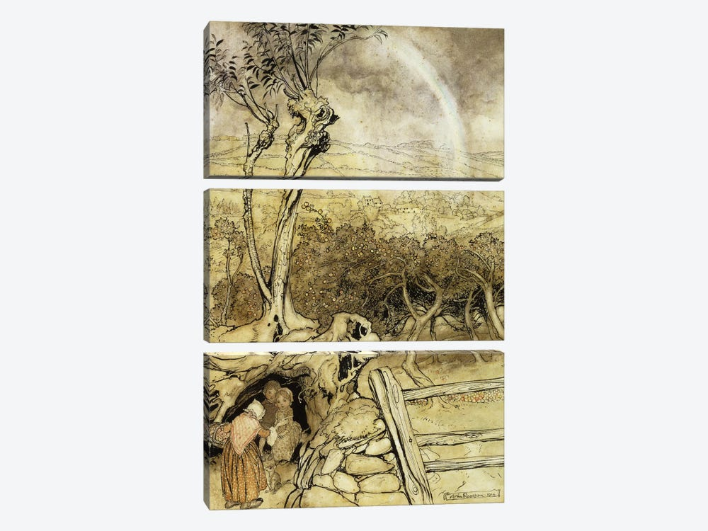So Nobody Can Quite Explain Exactly Where the Rainbows End, 1914  by Arthur Rackham 3-piece Canvas Art