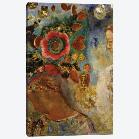 Two Young Girls with Flowers; Deux Jeunes Filles en Fleurs, 1912  Canvas Print #BMN5737} by Odilon Redon Canvas Art