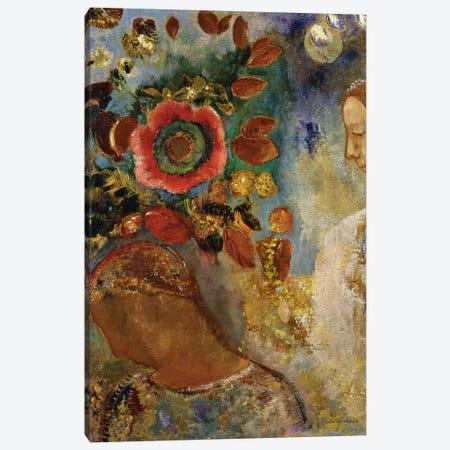 Two Young Girls with Flowers; Deux Jeunes Filles en Fleurs, 1912  Canvas Print #BMN5737} by Odilon Redon Canvas Art