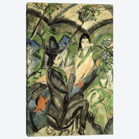 Couple under Japanese Parasols (Paar Unter der Japanschirm), 1902  Canvas Print #BMN5739} by Ernst Ludwig Kirchner Canvas Art Print
