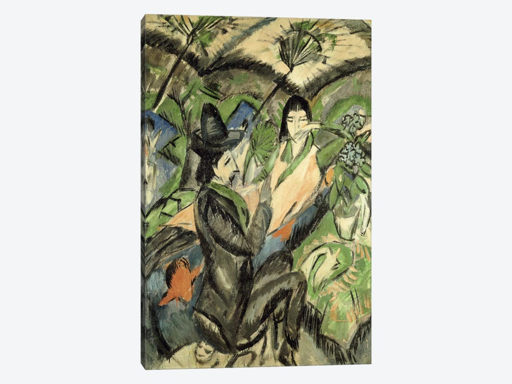 Couple under Japanese Parasols (Paar Unter der Japanschirm), 1902  by Ernst Ludwig Kirchner 1-piece Canvas Art