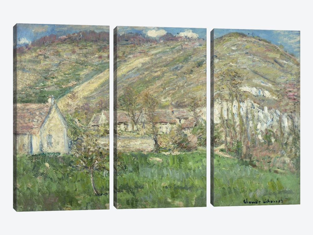 Hamlet in the Cliffs near Giverny (Hameau de Falaises pres Giverny), 1885  by Claude Monet 3-piece Canvas Print