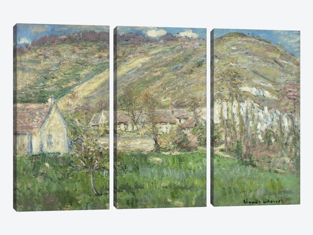 Hamlet in the Cliffs near Giverny (Hameau de Falaises pres Giverny), 1885  by Claude Monet 3-piece Canvas Print