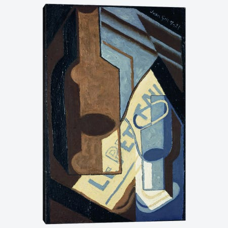Bottle and Glass (Bouteille et Verre), 1921  Canvas Print #BMN5744} by Juan Gris Canvas Print