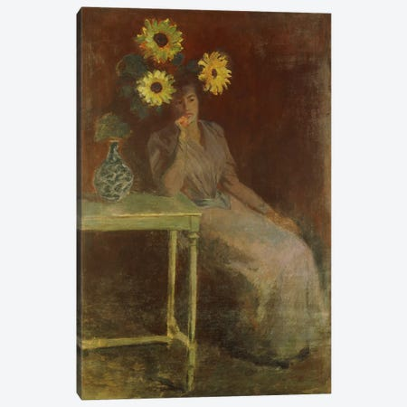 Suzanne with Sunflowers (Suzanne aux Soleils), c.1889  Canvas Print #BMN5747} by Claude Monet Art Print