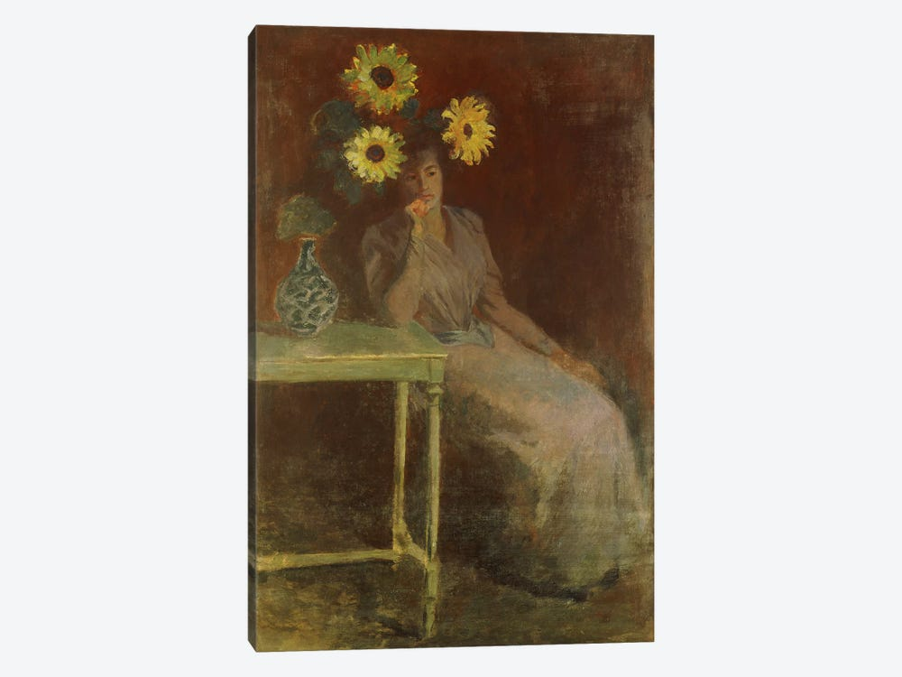 Suzanne with Sunflowers (Suzanne aux Soleils), c.1889  by Claude Monet 1-piece Canvas Art Print
