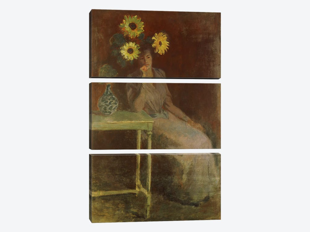 Suzanne with Sunflowers (Suzanne aux Soleils), c.1889 by Claude Monet 3-piece Canvas Art Print