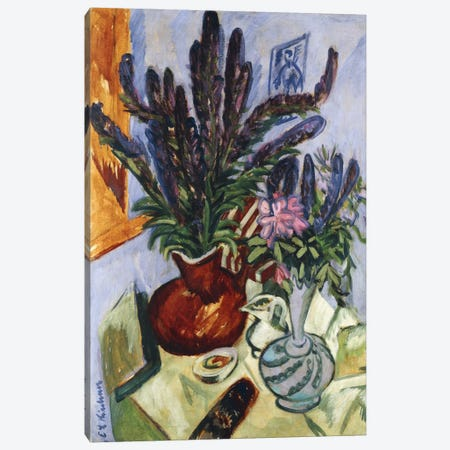 Still Life with a Vase of Flowers (Stilleben Mit Blumenvasen), 1912  Canvas Print #BMN5748} by Ernst Ludwig Kirchner Canvas Wall Art