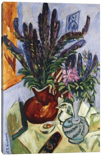 Still Life with a Vase of Flowers (Stilleben Mit Blumenvasen), 1912 Canvas Art Print