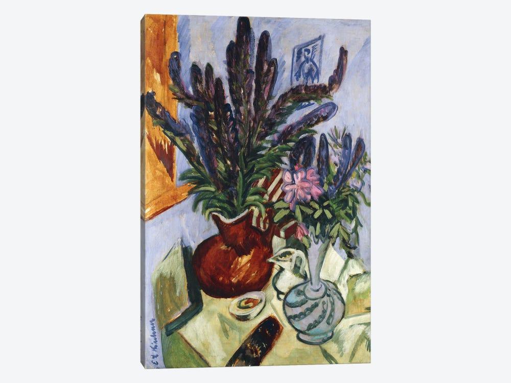 Still Life with a Vase of Flowers (Stilleben Mit Blumenvasen), 1912  by Ernst Ludwig Kirchner 1-piece Canvas Art
