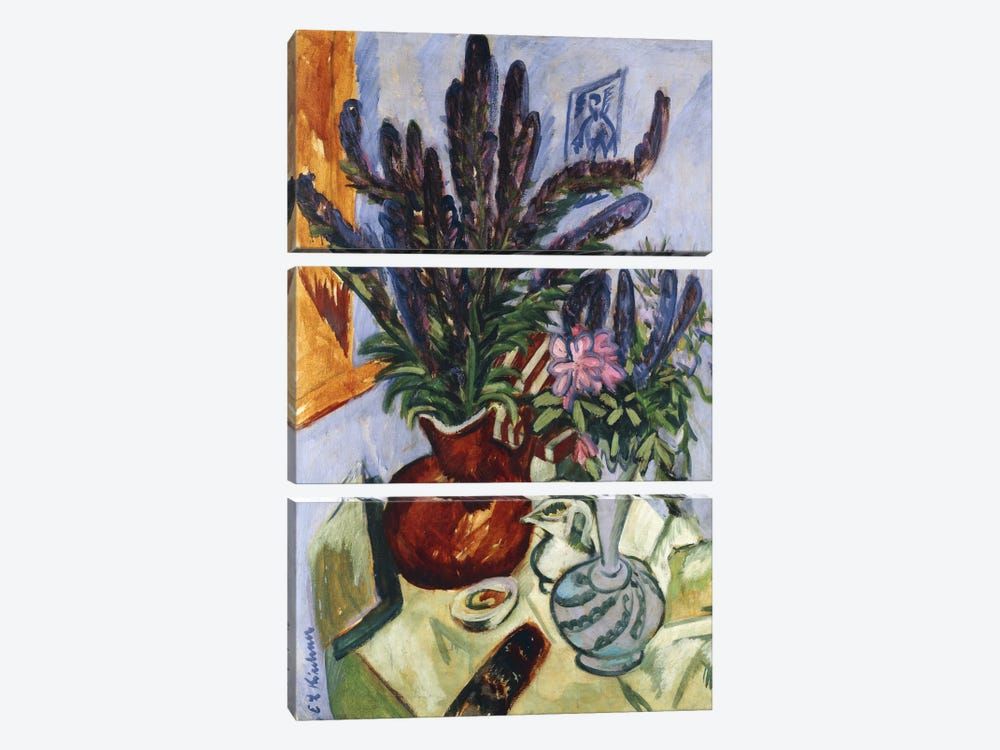 Still Life with a Vase of Flowers (Stilleben Mit Blumenvasen), 1912  by Ernst Ludwig Kirchner 3-piece Canvas Art