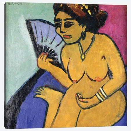 Seated Nude with Fan (Sitzender Akt Mit Facher), 1910-11  Canvas Print #BMN5750} by Ernst Ludwig Kirchner Art Print