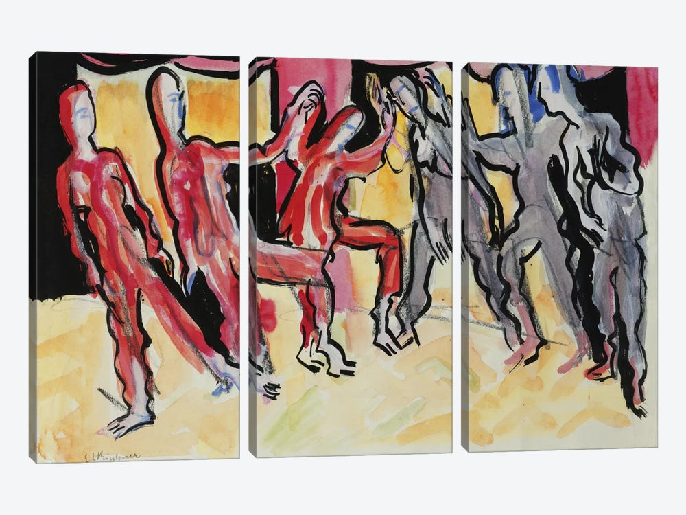 Mary Wigman Dance Group by Ernst Ludwig Kirchner 3-piece Canvas Art Print