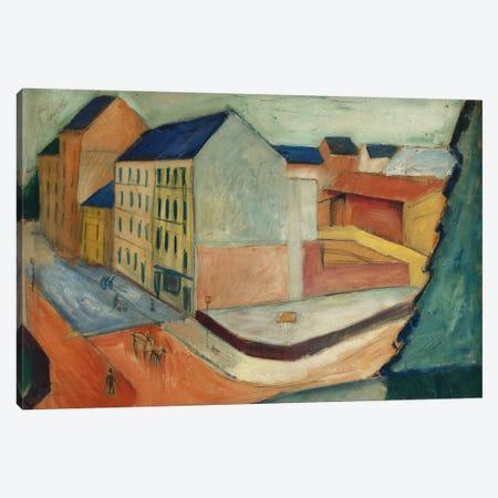Unsere Strasse mit Reitbahn, Bonn, 1913  Canvas Print #BMN5765} by August Macke Canvas Art Print