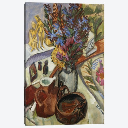 Still Life with Jug and African Bowl (Stilleben mit Krug und Afrikanischer Schale), 1912  Canvas Print #BMN5768} by Ernst Ludwig Kirchner Canvas Wall Art