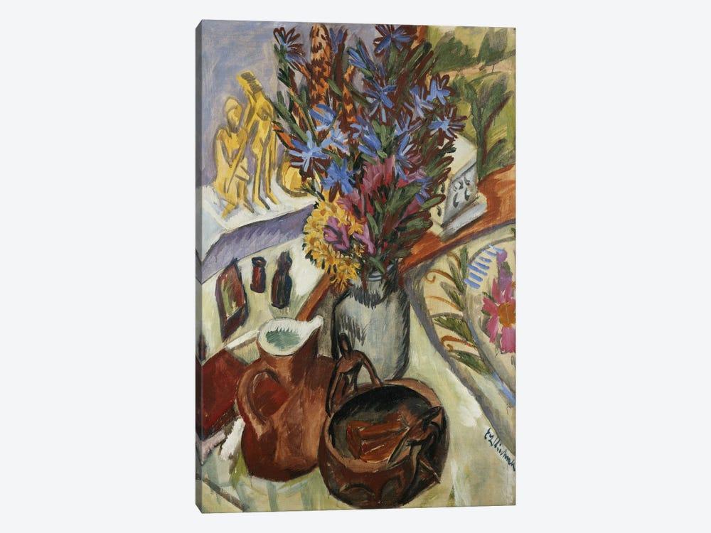 Still Life with Jug and African Bowl (Stilleben mit Krug und Afrikanischer Schale), 1912  by Ernst Ludwig Kirchner 1-piece Canvas Art