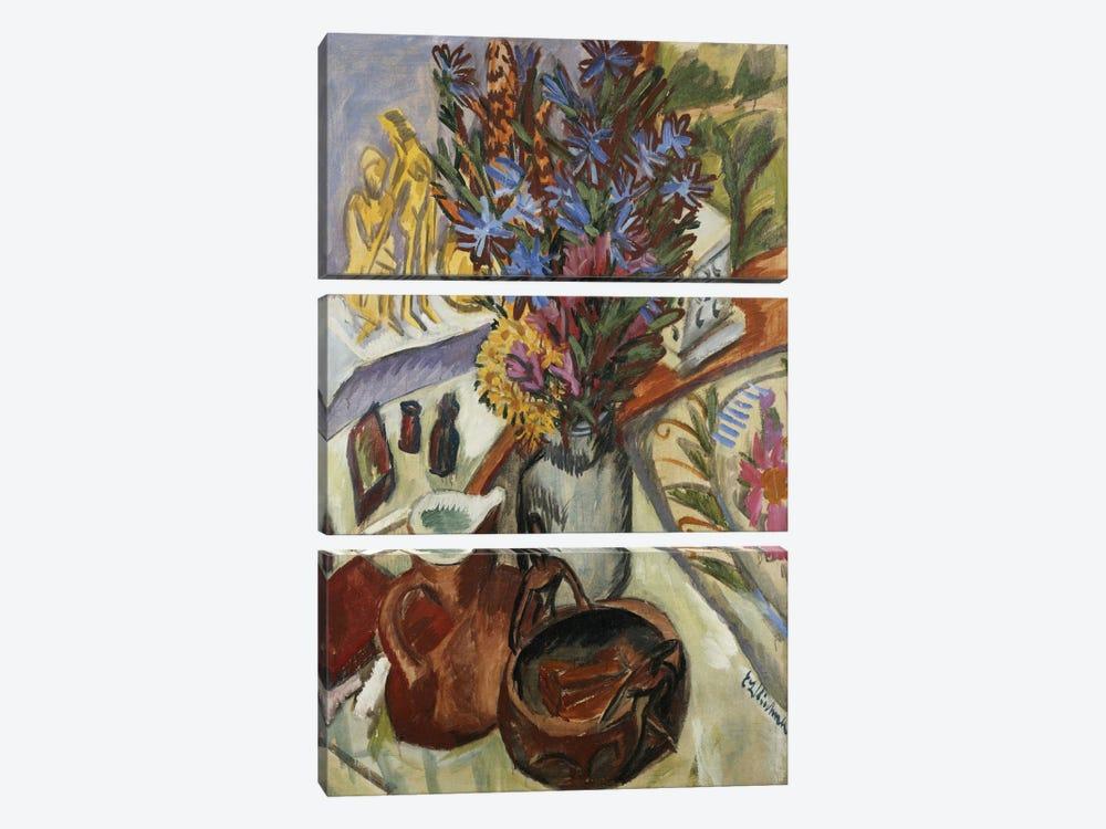 Still Life with Jug and African Bowl (Stilleben mit Krug und Afrikanischer Schale), 1912  by Ernst Ludwig Kirchner 3-piece Canvas Artwork