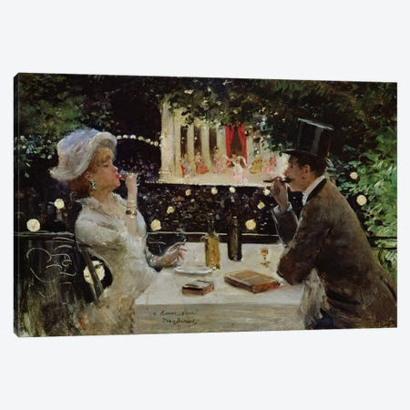 Dinner at Les Ambassadeurs, c.1882  Canvas Print #BMN576} by Jean Beraud Art Print