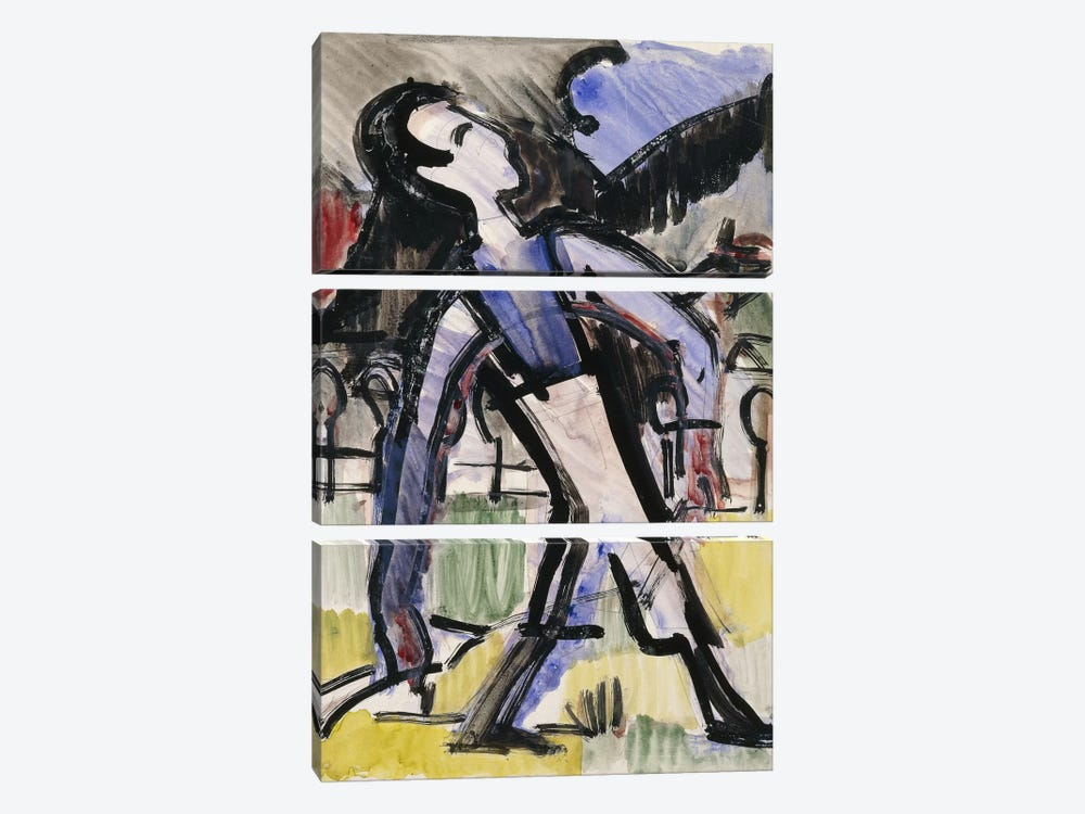 Davos Figure, 1924 by Ernst Ludwig Kirchner 3-piece Canvas Print