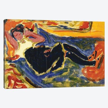 Woman with Black Stockings (Frau mit Schwarzen Strumpfen) Canvas Print #BMN5773} by Ernst Ludwig Kirchner Art Print