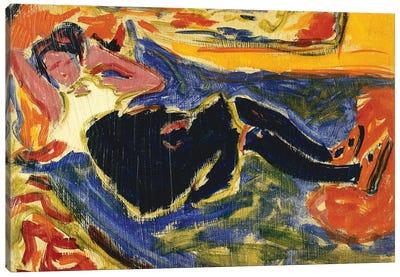 Woman with Black Stockings (Frau mit Schwarzen Strumpfen) Canvas Art Print