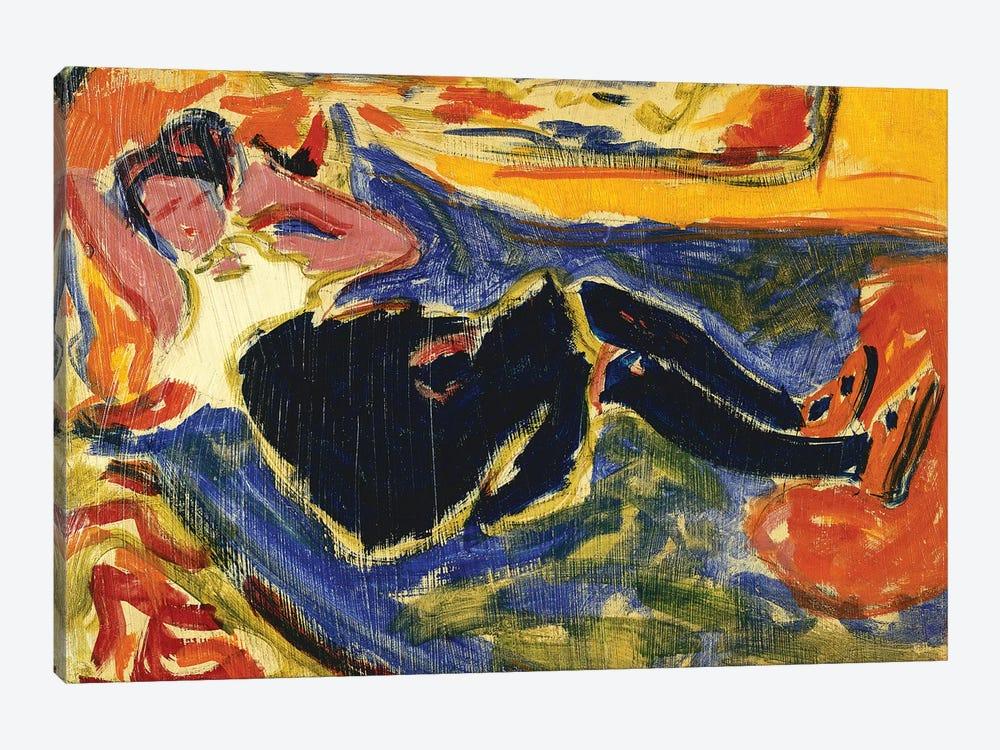 Woman with Black Stockings (Frau mit Schwarzen Strumpfen) by Ernst Ludwig Kirchner 1-piece Canvas Wall Art