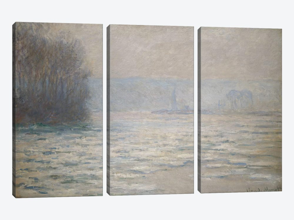 Floods on the Seine near Bennecourt (Debacle, La Seine pres Bennecourt), 1893  by Claude Monet 3-piece Canvas Art Print