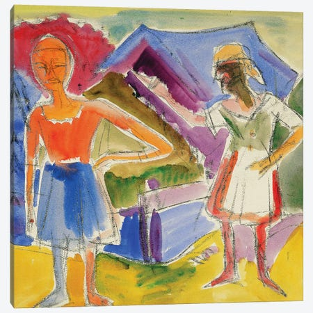 Two Figures (Zwei Gestalten) Canvas Print #BMN5775} by Ernst Ludwig Kirchner Canvas Artwork