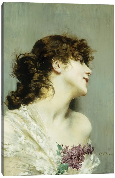 Profile of a Young Woman Canvas Art Print