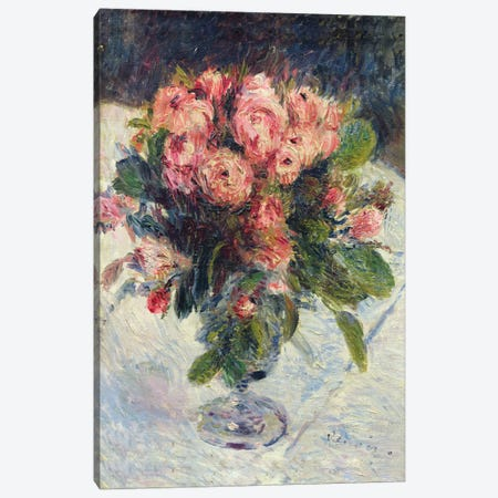 Moss-Roses, c.1890  Canvas Print #BMN577} by Pierre-Auguste Renoir Canvas Art Print