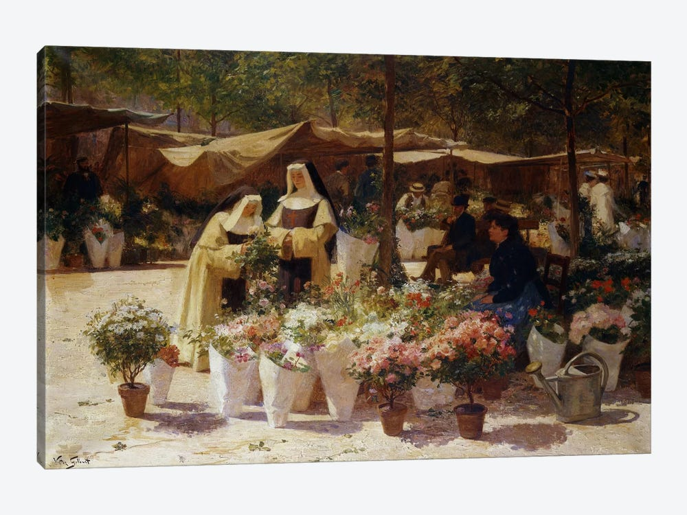 The Flower Market by Victor Gabriel Gilbert 1-piece Canvas Artwork
