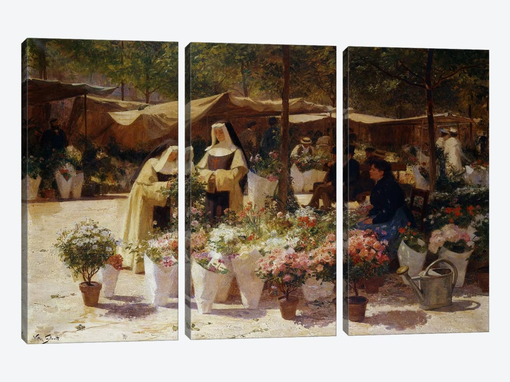 The Flower Market by Victor Gabriel Gilbert 3-piece Canvas Wall Art