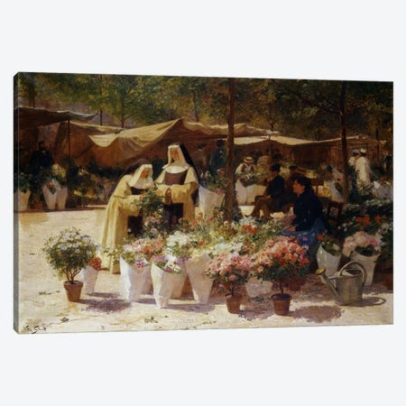 The Flower Market Canvas Print #BMN5780} by Victor Gabriel Gilbert Canvas Artwork