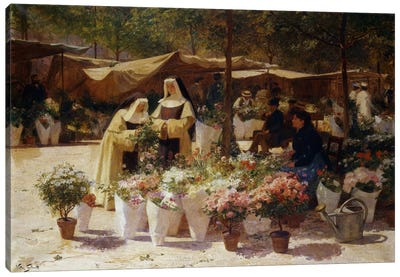 The Flower Market Canvas Art Print