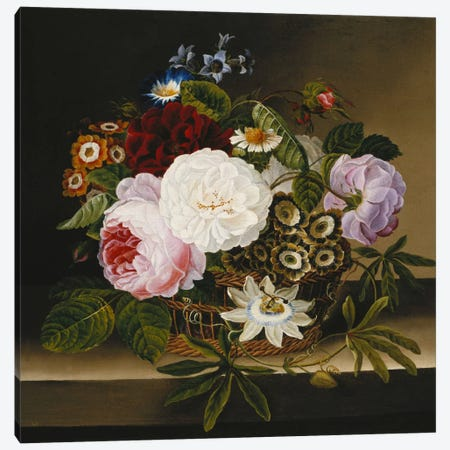 Roses and Other Flowers in a Basket on a Ledge  Canvas Print #BMN5786} by Dionys van Nijmegen Canvas Art Print