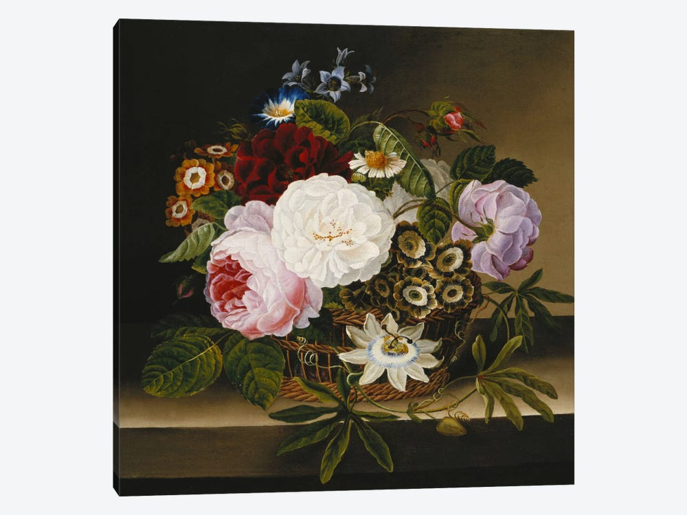 Roses and Other Flowers in a Basket on a Ledge  by Dionys van Nijmegen 1-piece Canvas Artwork